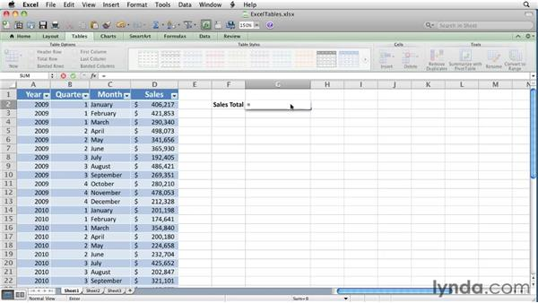 Referring to Excel table data in formulas: Excel for Mac 2011 Essential Training