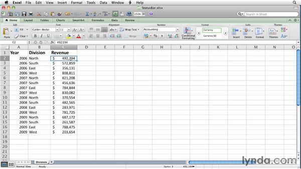 Summarizing data on the status bar: Excel for Mac 2011 Essential Training