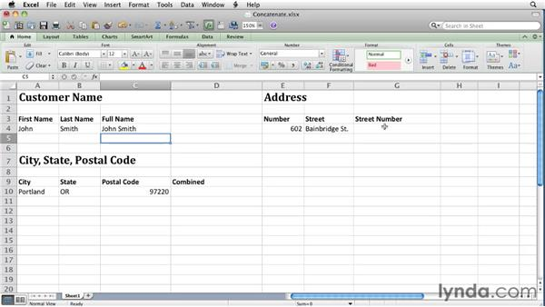 Joining text in cells with concatenation   : Excel for Mac 2011 Essential Training