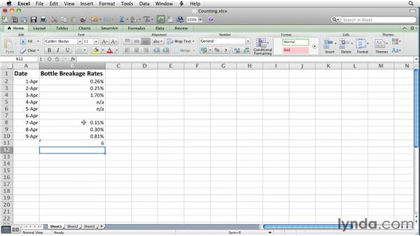 Creating formulas to count cells: Excel for Mac 2011 Essential Training