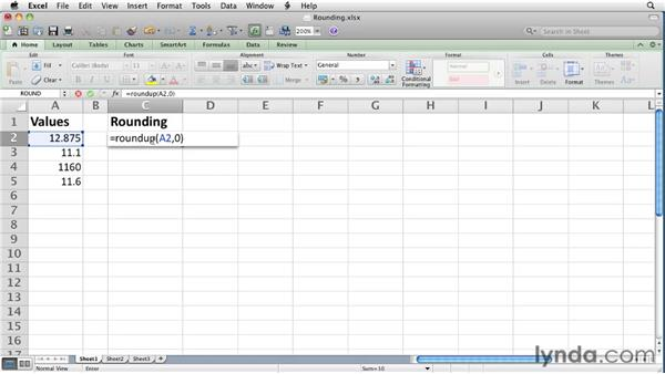Rounding cell values up and down: Excel for Mac 2011 Essential Training