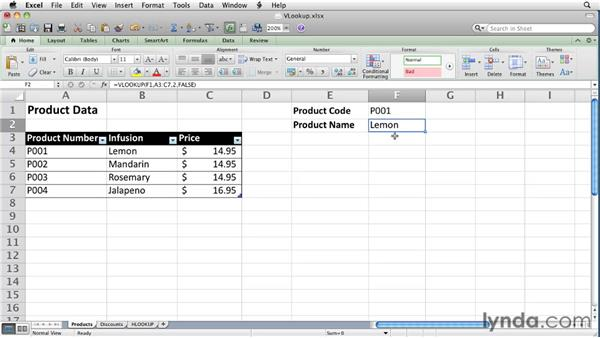 Finding data using VLOOKUP and HLOOKUP: Excel for Mac 2011 Essential Training