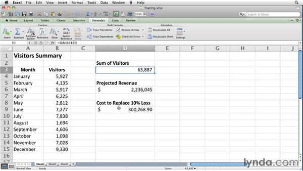 Auditing formulas by identifying precedents and dependents: Excel for Mac 2011 Essential Training