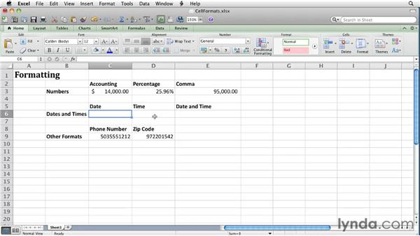 Applying number and date formats to cells: Excel for Mac 2011 Essential Training
