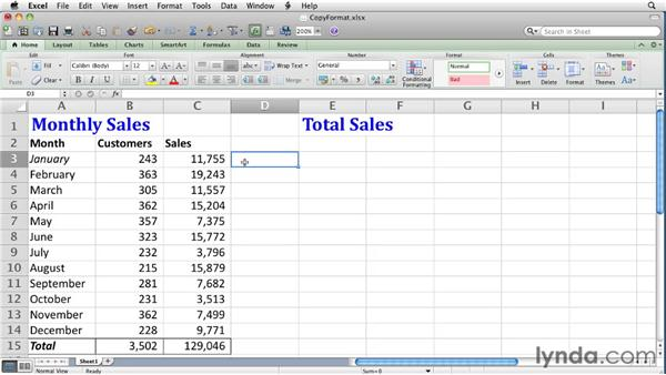 Copying cell formats: Excel for Mac 2011 Essential Training
