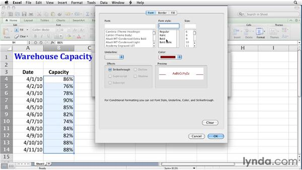 Creating rule-based conditional formats: Excel for Mac 2011 Essential Training