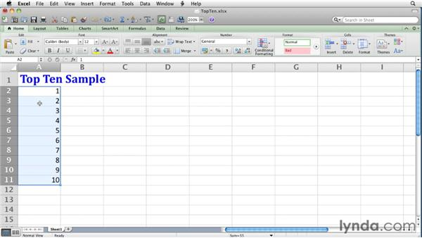 Defining Top 10 conditional formats: Excel for Mac 2011 Essential Training