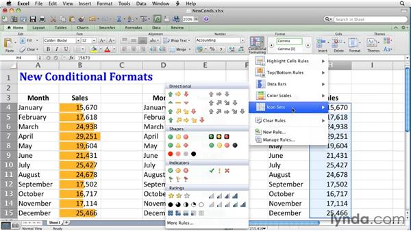 Defining data bar, color scale, and icon set conditional formats: Excel for Mac 2011 Essential Training