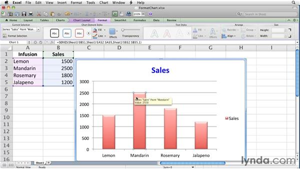 Changing the appearance of a chart: Excel for Mac 2011 Essential Training