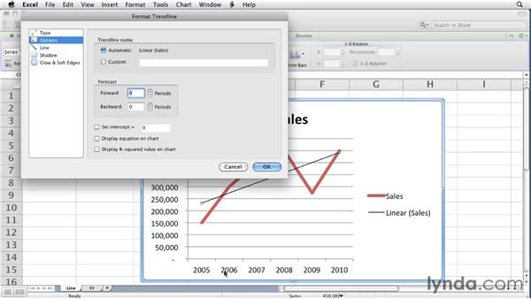 Adding trendlines to charts: Excel for Mac 2011 Essential Training