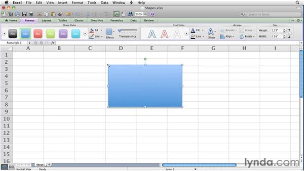 Creating and formatting shapes   : Excel for Mac 2011 Essential Training