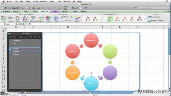Creating SmartArt graphics   : Excel for Mac 2011 Essential Training