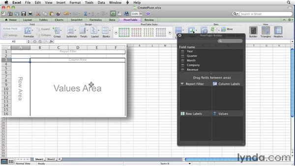 Creating a PivotTable report: Excel for Mac 2011 Essential Training
