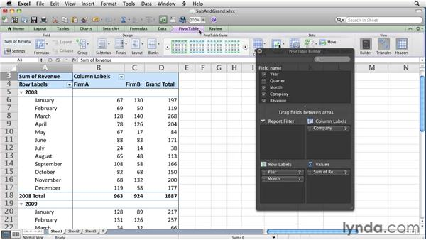 Managing subtotals and grand totals: Excel for Mac 2011 Essential Training