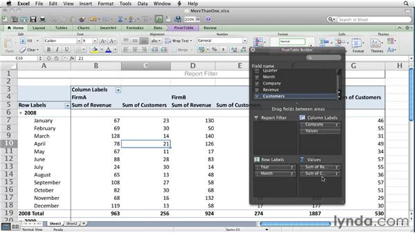 Summarizing more than one data field: Excel for Mac 2011 Essential Training