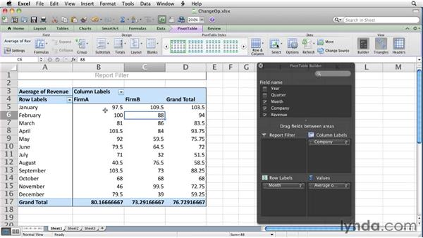 Changing the data field summary operation: Excel for Mac 2011 Essential Training