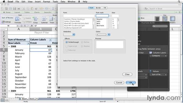 Creating and editing styles: Excel for Mac 2011 Essential Training