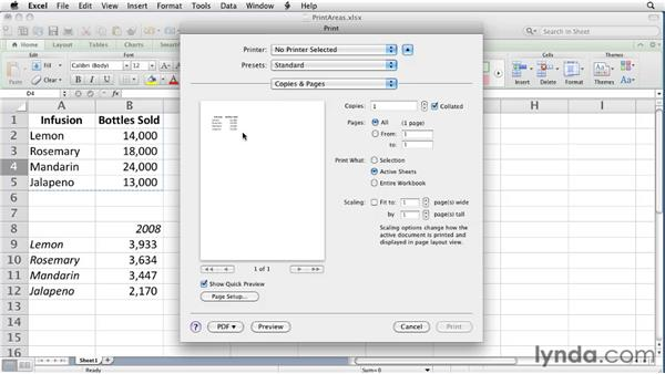 Setting and removing print areas: Excel for Mac 2011 Essential Training