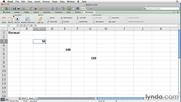 Recording a macro using relative references: Excel for Mac 2011 Essential Training