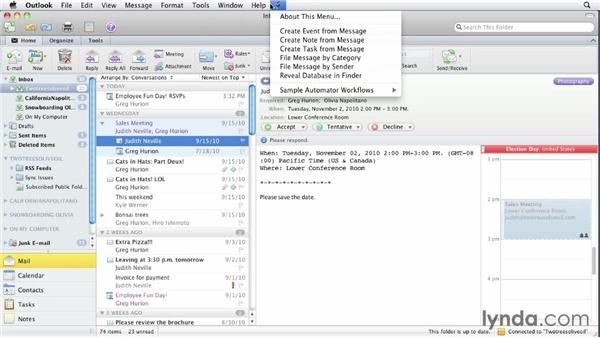 Exploring the user interface: Outlook for Mac 2011 Essential Training