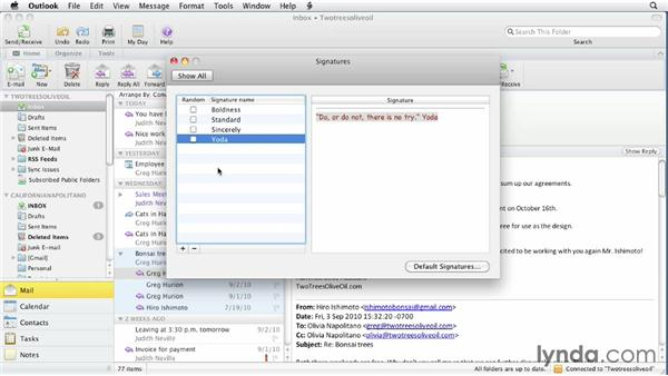 Working with signatures: Outlook for Mac 2011 Essential Training