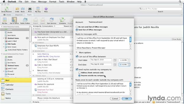 Setting up Out of Office auto-replies: Outlook for Mac 2011 Essential Training