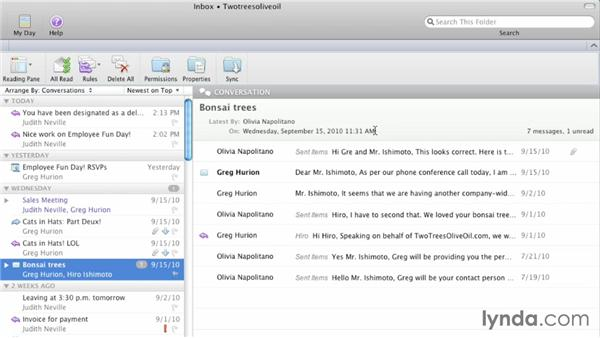 Using the Conversation view: Outlook for Mac 2011 Essential Training