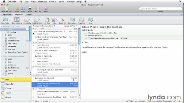 Organizing messages with folders: Outlook for Mac 2011 Essential Training