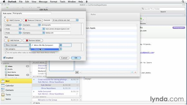 Creating message rules: Outlook for Mac 2011 Essential Training
