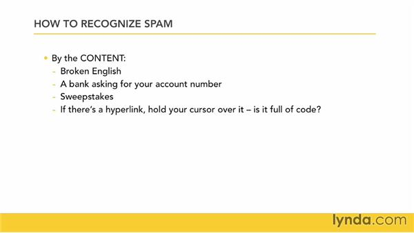 Recognizing spam: Outlook for Mac 2011 Essential Training