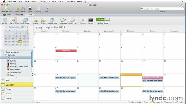 Adding holidays: Outlook for Mac 2011 Essential Training