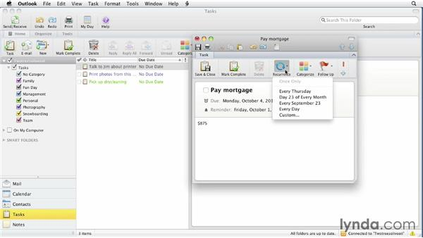 Creating new tasks and completing them: Outlook for Mac 2011 Essential Training