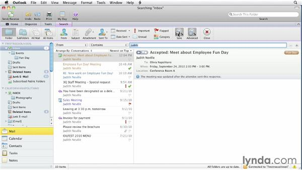 Searching and smart folders: Outlook for Mac 2011 Essential Training
