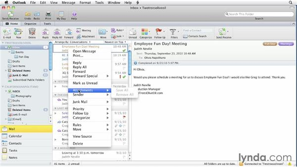 Right-clicking: Outlook for Mac 2011 Essential Training