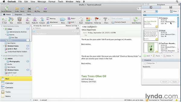 Using the Scrapbook: Outlook for Mac 2011 Essential Training
