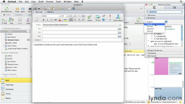 Using the reference tools: Outlook for Mac 2011 Essential Training