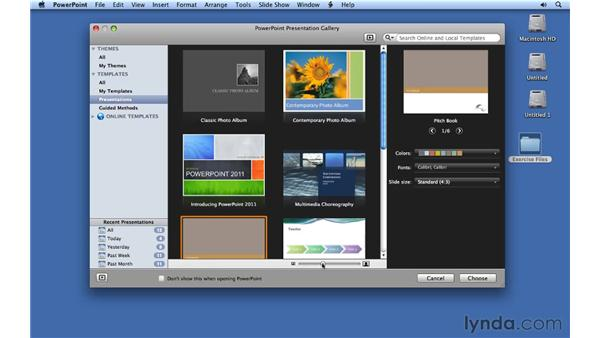 Creating new presentations: PowerPoint for Mac 2011 Essential Training