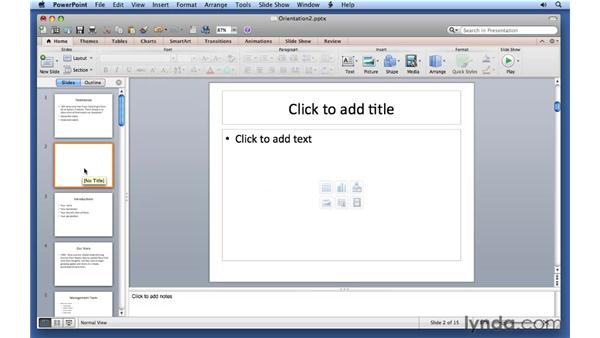 Adding, removing, and arranging slides: PowerPoint for Mac 2011 Essential Training