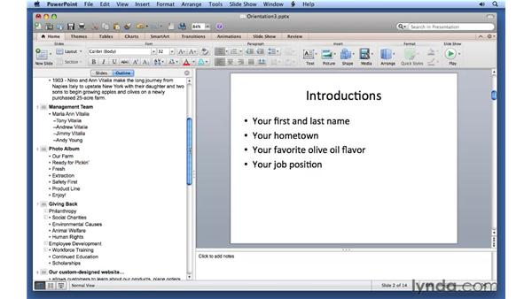 Saving time with Outline mode: PowerPoint for Mac 2011 Essential Training