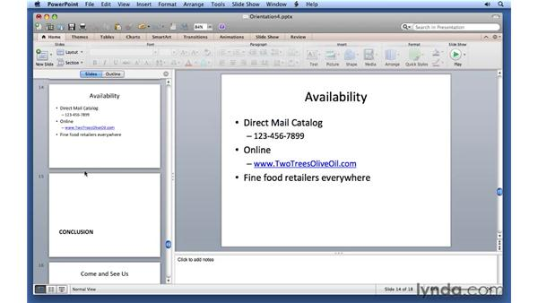 Separating slides into sections: PowerPoint for Mac 2011 Essential Training
