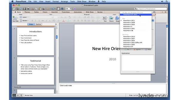 Checking compatibility: PowerPoint for Mac 2011 Essential Training