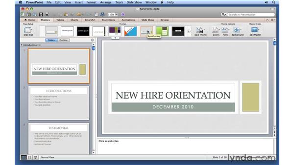 Using themes: PowerPoint for Mac 2011 Essential Training