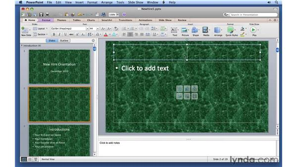 Working with slide layouts: PowerPoint for Mac 2011 Essential Training
