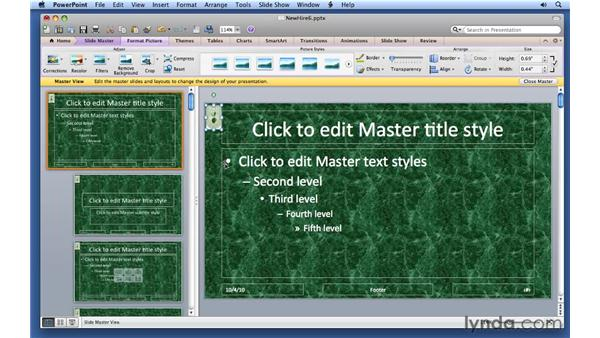 Working with slide masters: PowerPoint for Mac 2011 Essential Training