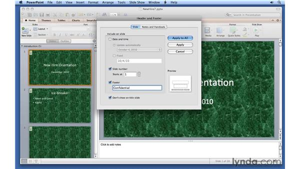 Using headers and footers: PowerPoint for Mac 2011 Essential Training