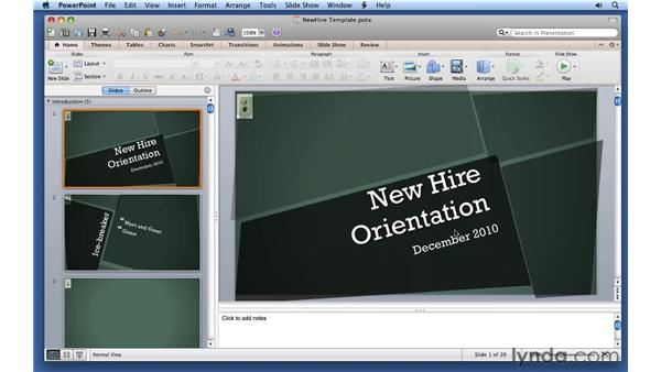 Using and creating templates: PowerPoint for Mac 2011 Essential Training