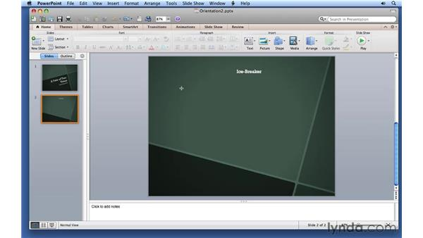 Adding text to a shape: PowerPoint for Mac 2011 Essential Training