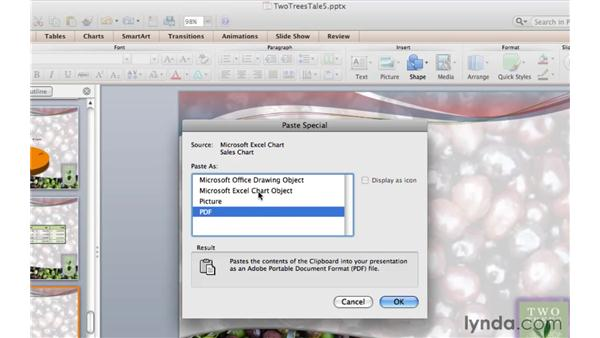 Pasting a chart from Excel: PowerPoint for Mac 2011 Essential Training