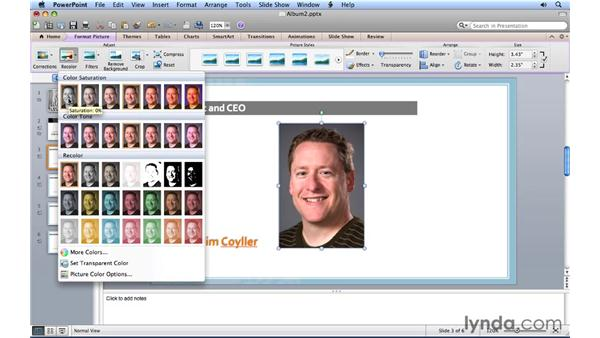 Replacing and adjusting pictures: PowerPoint for Mac 2011 Essential Training