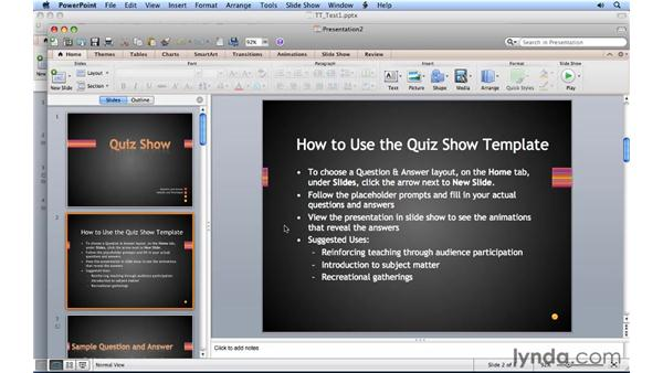Using a template with animation: PowerPoint for Mac 2011 Essential Training